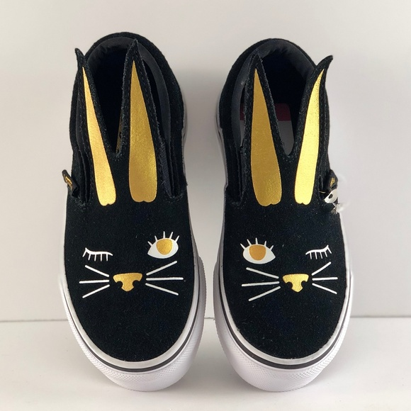 d8138cc8d Vans SLIP ON Bunny Black Gold Toddler Shoes
